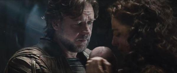 Jor-El, Lara, and baby Kal-El